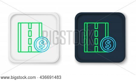 Line Toll Road Traffic Sign. Signpost Icon Isolated On White Background. Pointer Symbol. Street Info