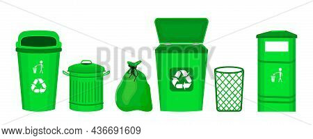 Set Of Garbage Bins Isolated On White Background. Different Empty Green Dustbins Front View. Trash C