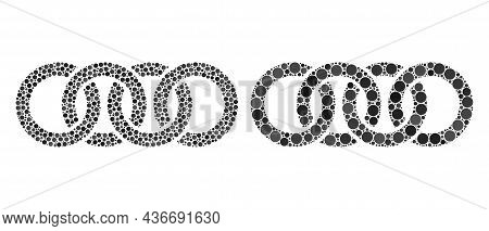 Pixelated Circle Chain Icon. Mosaic Circle Chain Icon Designed From Circle Elements In Random Sizes