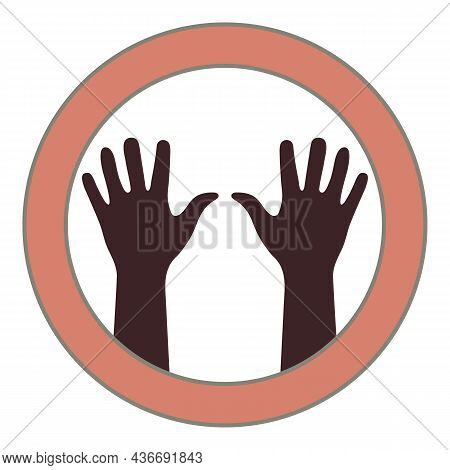 Two Brown Hands Close Up. Isolated Silhouettes In Ring Center. Right And Left Human Hands From Wrist