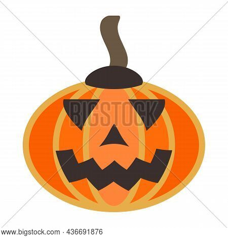 Orange Pumpkin With Caricatured Smile. Gourd Vegetable Decoration. Squash With Carved Holes For Eyes
