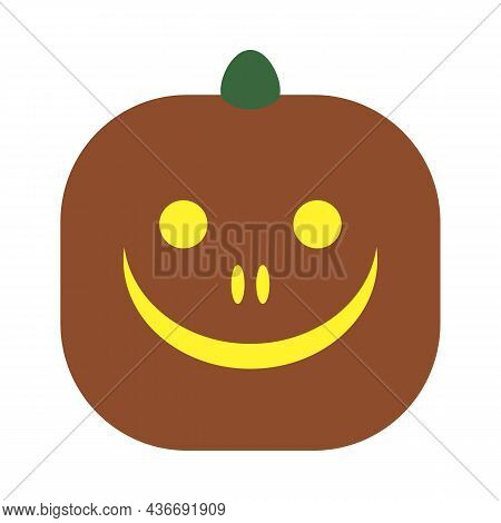 Original Smiling Pumpkin. Funny Smiling Face. Gourd Face On White Background. Isolated Squash Silhou