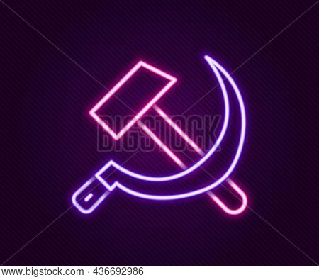 Glowing Neon Line Hammer And Sickle Ussr Icon Isolated On Black Background. Symbol Soviet Union. Col