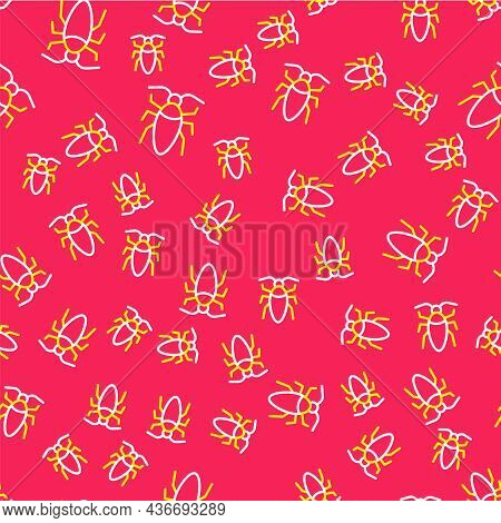 Line Cockroach Icon Isolated Seamless Pattern On Red Background. Vector
