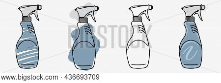 Spray Bottle In Doodle. Sprayer Icons Set In Sketch. Hand Drawn Spray Can. Doodle Style
