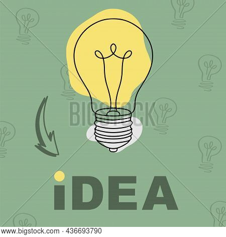 Idea Lamp Illustration. Hand Drawn Lamp Bulb. Idea Pattern Illustration