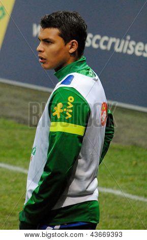 GENEVA, SWITZERLAND - MARCH 21: Brazilian football player Thiago Silva warms up before the friendly