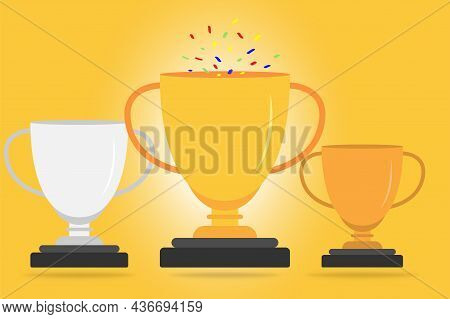 Trophy Cup Illustration. Winner Award Symbol. Golden Trophy Cup. First, Second And Third Place. Vict