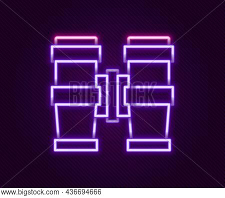 Glowing Neon Line Binoculars Icon Isolated On Black Background. Find Software Sign. Spy Equipment Sy