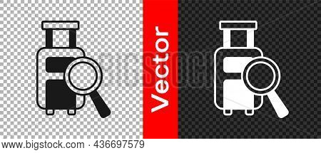Black Airline Service Of Finding Lost Baggage Icon Isolated On Transparent Background. Search Luggag