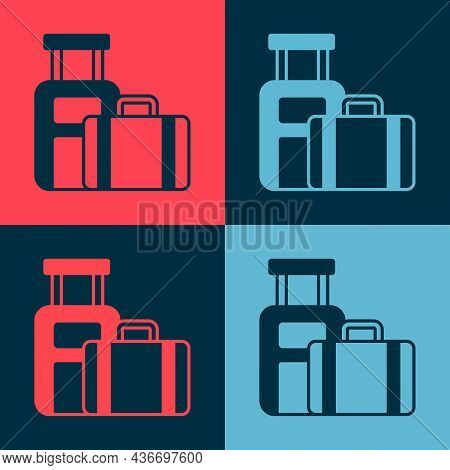 Pop Art Suitcase For Travel Icon Isolated On Color Background. Traveling Baggage Sign. Travel Luggag
