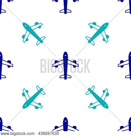 Blue Plane Icon Isolated Seamless Pattern On White Background. Flying Airplane Icon. Airliner Sign.
