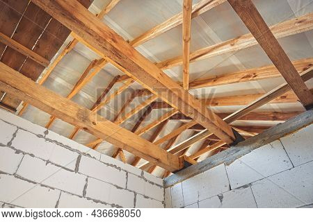 New Construction Of The House. Krishi Wooden Structures. Inside The Structure Of The House