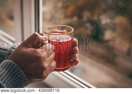 Male Hands With A Cup Of Hot Tea Near The Window. Cozy Home Atmosphere. Lifestyle At Home Autumn Win
