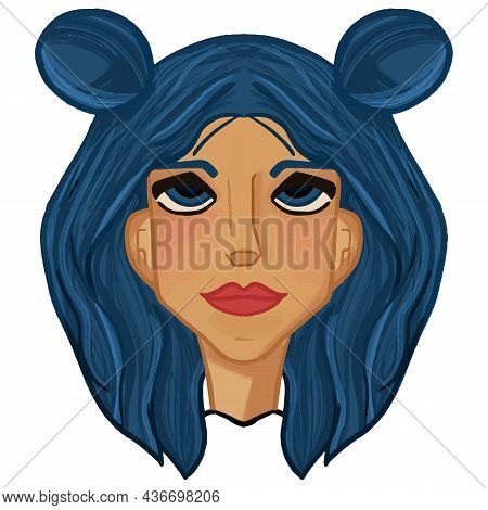 Hand Drawn Vector Illustration Of Young Girl Character Portrait With Blue Hair Buns In Cartoon Style