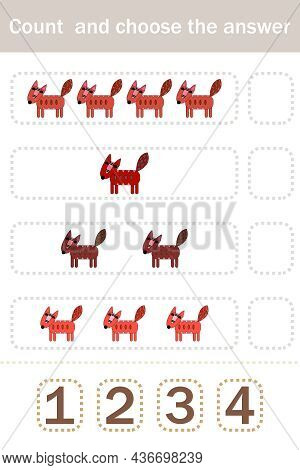 How Many Counting Game With Funny Forest Animal Foxes. Preschool Worksheet, Kids Activity Sheet, Pri