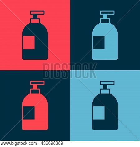 Pop Art Dishwashing Liquid Bottle Icon Isolated On Color Background. Liquid Detergent For Washing Di