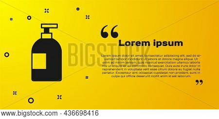 Black Dishwashing Liquid Bottle Icon Isolated On Yellow Background. Liquid Detergent For Washing Dis