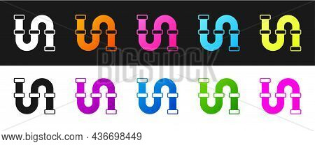 Set Industry Metallic Pipe Icon Isolated On Black And White Background. Plumbing Pipeline Parts Of D
