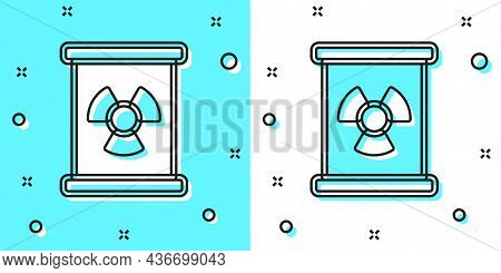 Black Line Radioactive Waste In Barrel Icon Isolated On Green And White Background. Toxic Refuse Keg