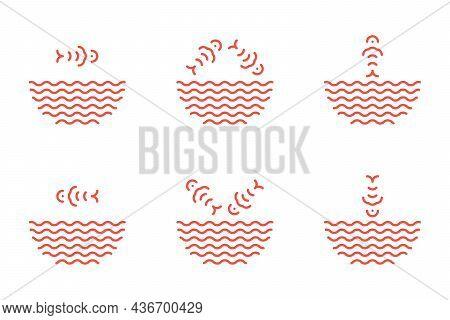 Poke Bowl Logos Set And Symbols In Linear Style. Fish Jumping From Water Waves Logotype. Fish Ramen