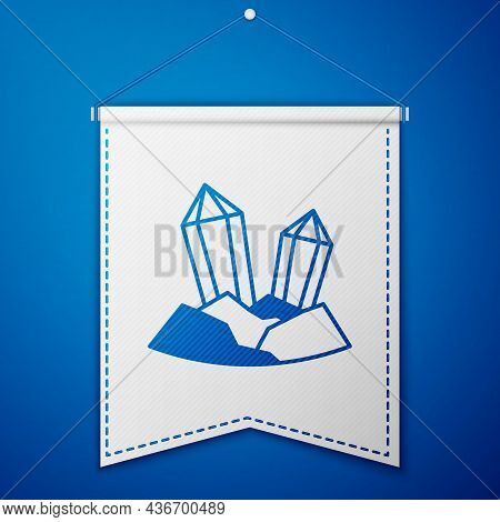 Blue Gem Stone Icon Isolated On Blue Background. Jewelry Symbol. Diamond. White Pennant Template. Ve