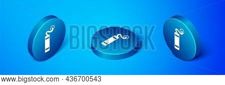 Isometric Detonate Dynamite Bomb Stick Icon Isolated On Blue Background. Time Bomb - Explosion Dange