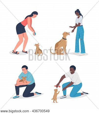 Owners Playinh With Pets Semi Flat Color Vector Character Set. Full Body People On White. Adoption I