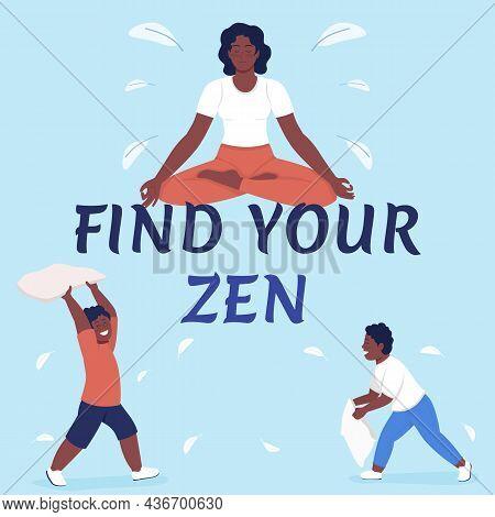 Dealing With Stress Of Parenting Social Media Post Mockup. Find Zen Phrase. Web Banner Design Templa