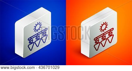 Isometric Line Drying Grapes Icon Isolated On Blue And Orange Background. Dried Grapes. Silver Squar