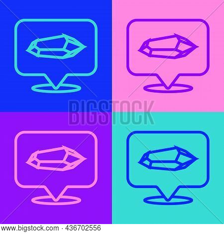 Pop Art Line Magic Stone Icon Isolated On Color Background. Fantasy Crystal. Jewelry Gem For Game. V