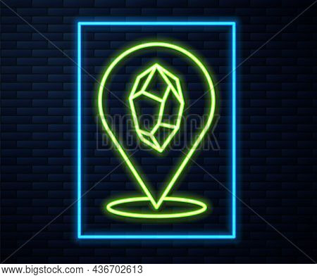 Glowing Neon Line Magic Stone Icon Isolated On Brick Wall Background. Fantasy Crystal. Jewelry Gem F