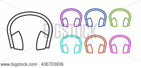 Black Line Noise Canceling Headphones Icon Isolated On White Background. Headphones For Ear Protecti