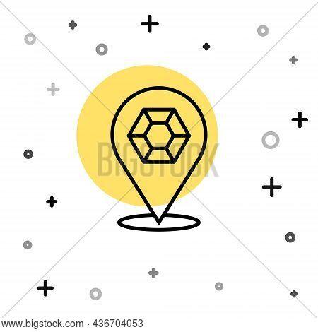 Black Line Gem Stone Icon Isolated On White Background. Jewelry Symbol. Diamond. Random Dynamic Shap