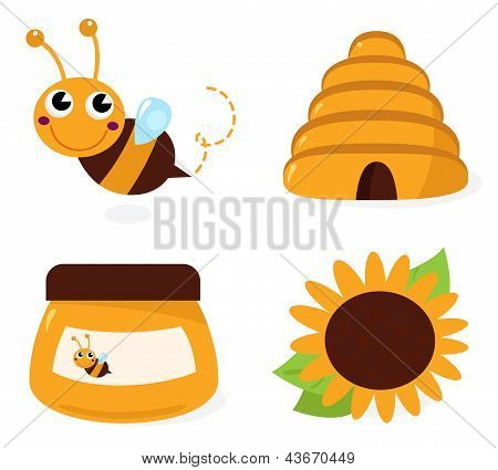 Bee And Honey Icons Set Isolated On White