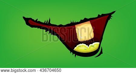 Vector Cartoon Funny Zombie Monster Mouth With Rotten Teeth Isolated On Green Background. Vector Hap