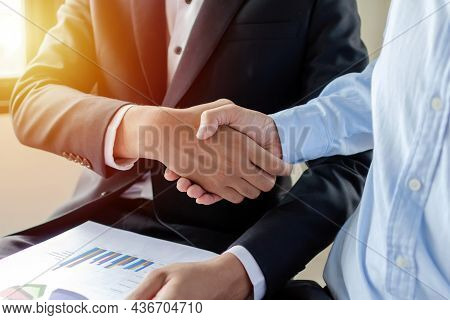 Partnership. Two Business Man Investor Handshake Deal With Partner After Finishing Up Business Meeti