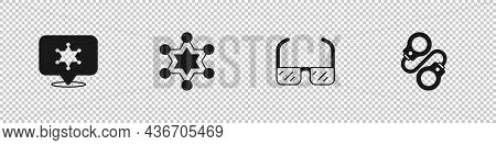 Set Hexagram Sheriff, , Safety Goggle Glasses And Handcuffs Icon. Vector