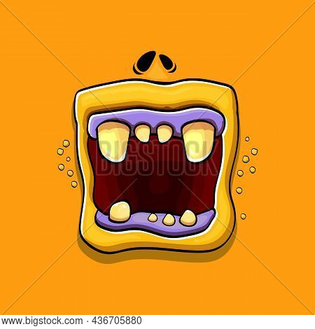 Vector Cartoon Funny Silly Zombie Monster Mouth With Rotten Teeth Isolated On Orange Background. Vec