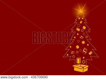 Red Christmas Background With Christmas Tree Formed From Dots And With Christmas Decoration Inside -