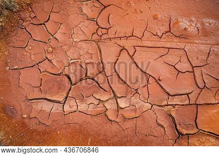 Crack Soil Ground Texture. The Natural Texture Of Soil With Cracks. Broken Clay Surface Of Barren Dr