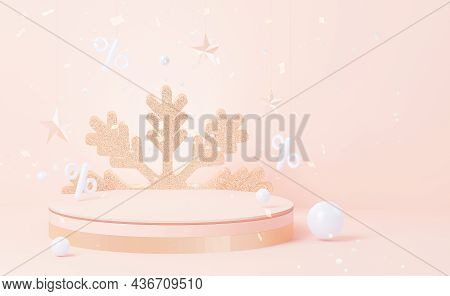 Winter New Year Round Shelving With A Large Golden Snowflake. Christmas Podium, With Golden Decorati