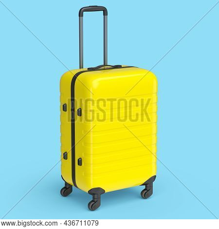 Small Yellow Polycarbonate Suitcase Isolated On Blue Background.