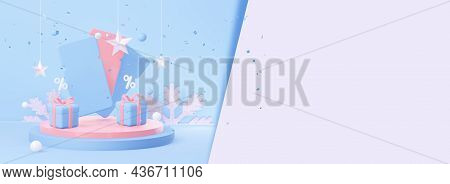 New Year Coupons On The Podium With Christmas Gifts, With An Empty Space For Text. 3d Rendering.