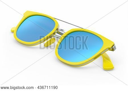 Realistic Sunglasess With Gradient Lens And Yellow Plastic Frame On White