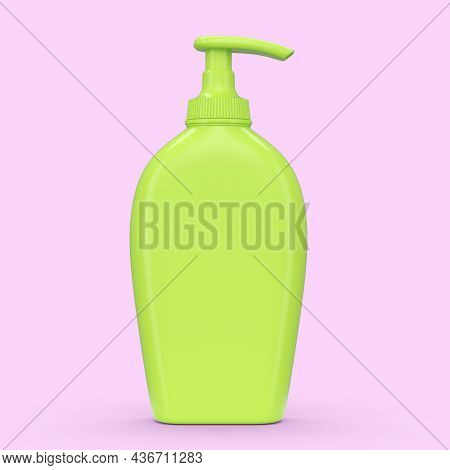 Green Sunscreens Bottle Or Sunblock Cream Tube Isolated On Pink Background.