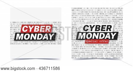 Set Of Square Cyber Monday Promotion Banners For Social Media. White Background With Binary Code Pat