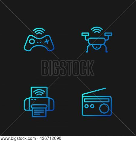 Set Line Radio, Smart Printer System, Wireless Gamepad And Drone. Gradient Color Icons. Vector