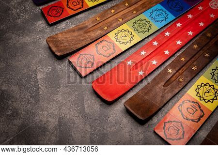 Close Up View Wooden Stands On Grey Background. Aromatherapy And Meditation. Stick Stand On Gray Bac