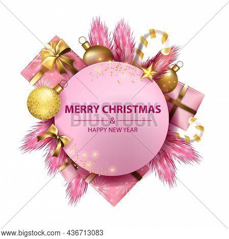 Christmas Holiday Background, Winter X-mas Festive Postcard, Golden Decoration Ball, Pink Pine Branc